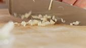 Zwiebel und Knoblauch fein hacken