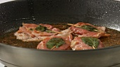 Saltimbocca alla romana being prepared (English Voice Over)