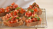 Bruschetta (toasted bread topped with tomatoes, Italy)