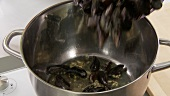 Mussels being added to a pot with olive oil and garlic