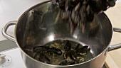 Miesmuscheln in einen Topf mit Olivenöl und Knoblauch geben
