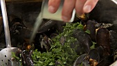 Freshly pressed lemon juice being added to cooked mussels