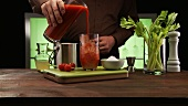 A Bloody Mary being prepared