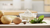 Ingredients for gnocci with sage butter: potatoes, egg, butter, flour, sage