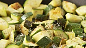 Fried, diced courgette