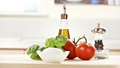 Ingredients for caprese: tomatoes, buffalo mozzarella and basil