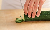 Cucumber being sliced (German Voice Over)