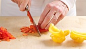 Peppers being sliced
