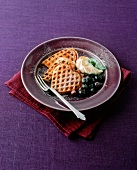 Heart-shaped waffles with blueberries
