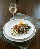 Grilled bacon-wrapped halibut with lentils
