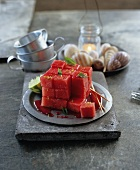 Cubed watermelon with grenadine