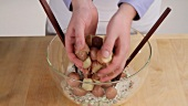 Preparing American potato salad (German Voice Over)