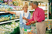 Older married couple food shopping