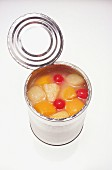 Mixed canned fruit: peaches, pears and cherries