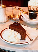 A piece of Sachertorte (chocolate cake)