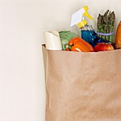 Paper bag full of groceries and cleaning products