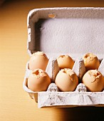 Cardboard egg carton with shattered eggs