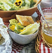 Romaine Lettuce Salad with Pansies and Garlic Bread