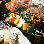 Skewered Vegetables on the Grille with Steak and Lobster