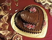 Two-tiered Heart-shaped Chocolate Cake