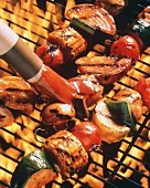 Basting Vegetable Kabobs on the Grill