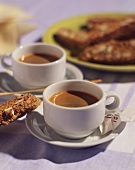 Espresso e cantuccini (Espresso and almond biscuits, Italy)
