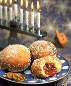 Three Jelly Donuts with Menorah
