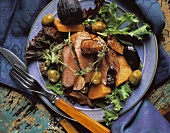 Duck Nicoise with Sweet Potato Figs and Olives