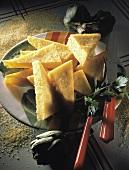 Triangolini di polenta (Polenta slices, Italy)