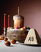 Russian Easter with Cake; Easter Eggs and Cheese