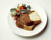 Chocolate and Vanilla Loaf Cake; Sugared Fruit