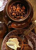 Baked Beans in a Bean Pot; Brown Bread