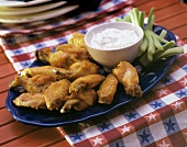 Spicy Buffalo Wings with Celery; Dip