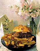 Burger with Blue Cheese and Steak Fries