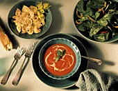 Tortellini; Tomato Soup and Arugula Salad
