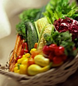 Fresh Produce Basket; Selective Focus