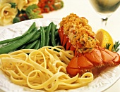 Stuffed Lobster Tail; Green Beans and Pasta