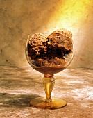 A Stem Glass with Chocolate Ice Cream