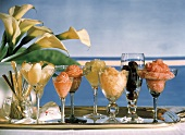 Various Fruit Sorbets in Stem Glasses
