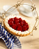 Strawberry Pie with Blue Checked Napkin