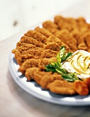 Breaded Chicken Strips on Platter with Dijon
