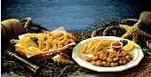 Two Fried Seafood Platters; Nets and Shells