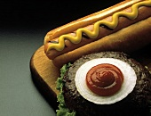 Grilled Hot Dog with Mustard; Grilled Hamburger