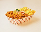 Fried Shrimp with French Fries; Paper Basket