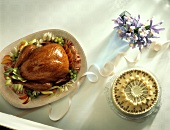 Turkey on Platter with Marzipan Torte