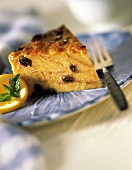 Slice of Bread Pudding with Raisins