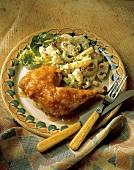 Baked Chicken Leg with Pineapple Sauce; Potato Salad