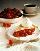 Cherry Pie Slice with Whipped Cream