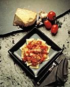 Ravioli with Fresh Tomato Sauce; Parmesan Cheese