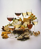 Assorted Glasses of Wine with Appetizers